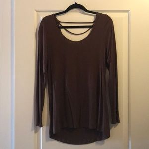 Knit tee with low back detail